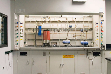 Fume hood equipped with a custom designed Schlenk line